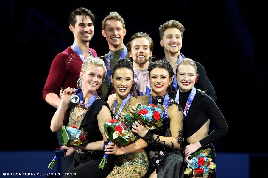 全米フィギュアスケート選手権2020 アイスダンス 表彰台